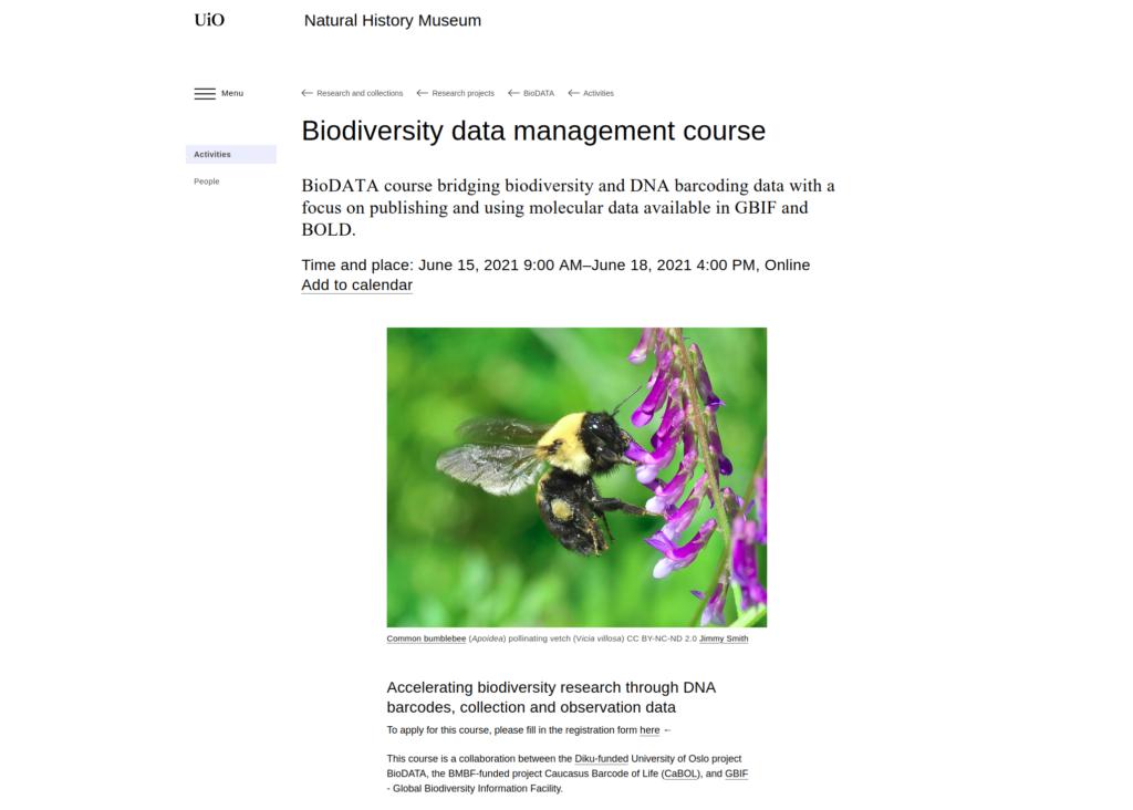 Biodiversity Data Management Course