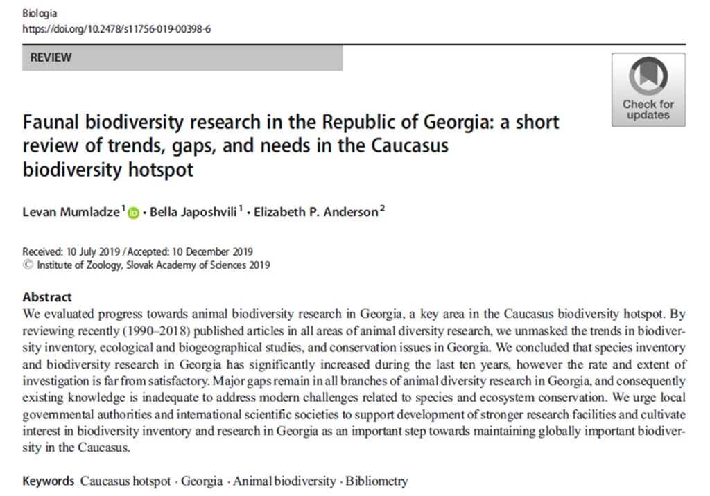 Check out a review on the faunal biodiversity research in the Caucasus: with a special focus on the Republic of Georgia
