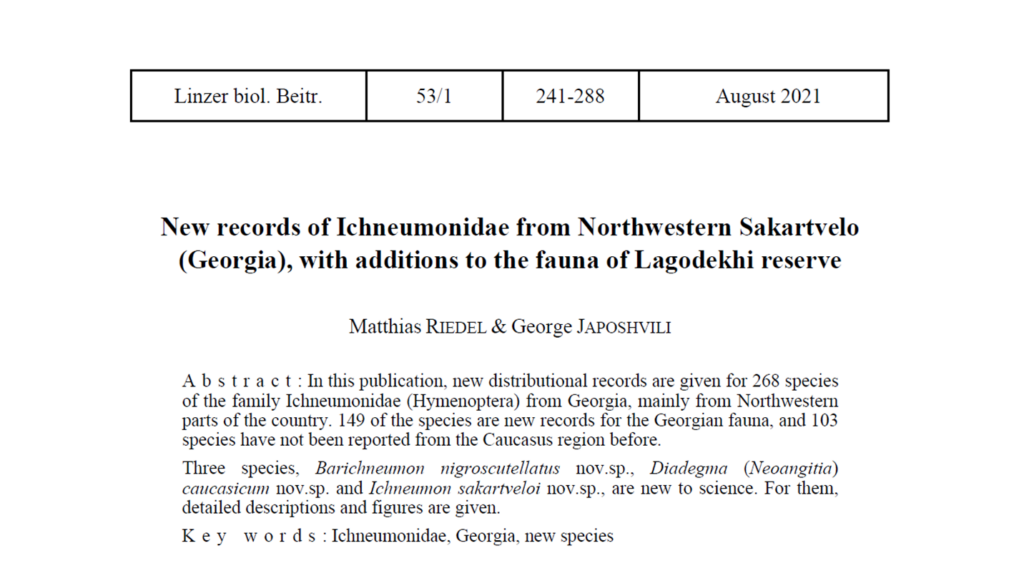 103 Ichneumonidae species are reported for the first time in the Caucasus